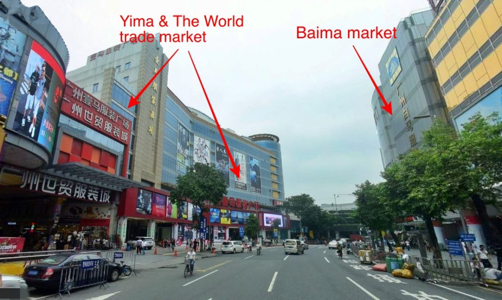Baima and Yima garment market beside the street